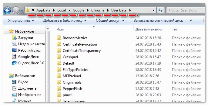Зайти в корневую папку браузера