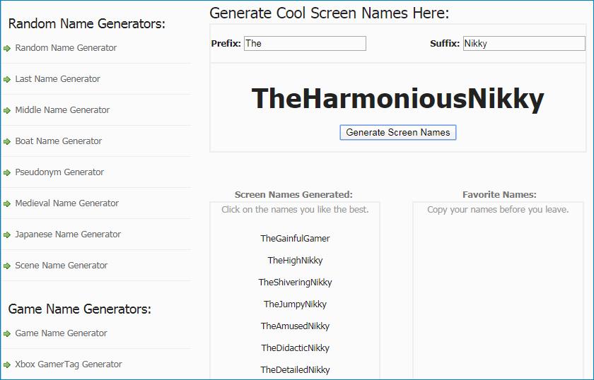 Интерфейс Cool Screen Name Generator